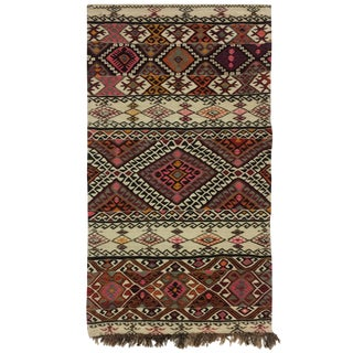 3 X 5 Ram's Horn and Scorpion Embroidered Turkish Kilim Flatweave Rug For Sale