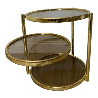1970s Hollywood Regency 3 Tier Gold Circular Smoked Glass Coffee Table For Sale