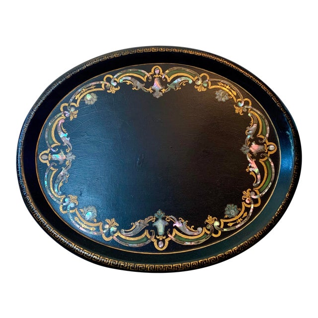 19th Century Black Paper Mache VictorianTray With Mother of Pearl Inlay For Sale