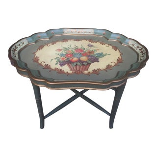 Removable Tray Top with Folding Leg Floral Tea Table For Sale