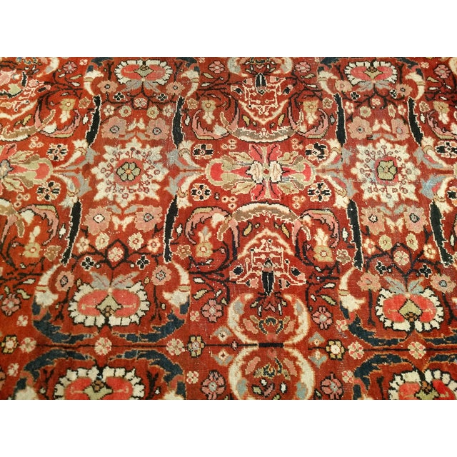 1920s Persian Mahal Sultanabad Red and Auburn Wool Rug - 9′ × 12′5″ For Sale - Image 5 of 7