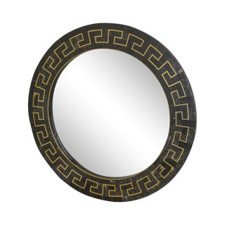 Maitland Smith Tessellated Stone Greek Key Brass Inlay Round Mirror For Sale