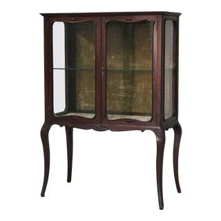 1890 Antique R. J. Horner Louis XV Style Carved Mahogany 2 Door Vitrine For Sale