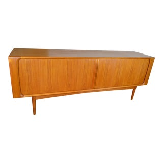 Johannes Andersen Danish Modern Teak Credenza With Tambour Doors For Sale