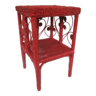 Red Wicker Side Table Magazine Stand or Night Stand For Sale