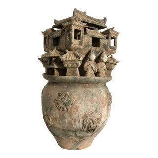 Chinese Han Dynasty Style Moulded Pottery Urn For Sale