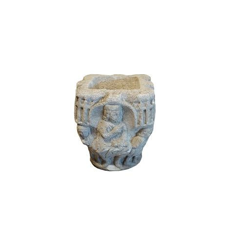 Gray Carved Stone Vase For Sale - Image 8 of 8