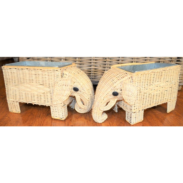 Boho Chic Wicker Elephant Basket Planters - a Pair For Sale - Image 12 of 12