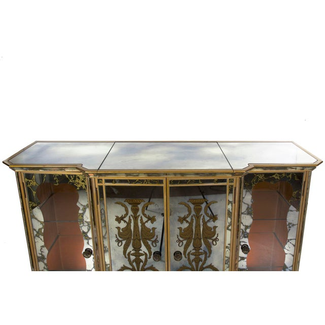 Glass French Art Deco Smoked Mirror Bar Server Console Sideboard, C. 1940s For Sale - Image 7 of 13