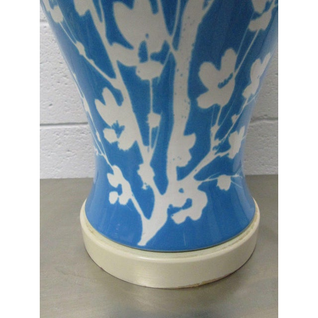 Pair Blue Ceramic Floral Lamps For Sale - Image 4 of 6