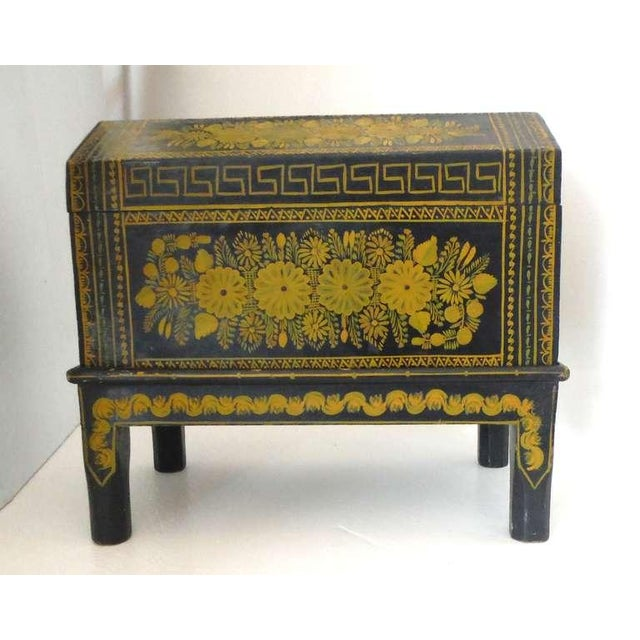 Antique Ebonized Hand-Painted Mexican Wedding Trunk For Sale - Image 4 of 9