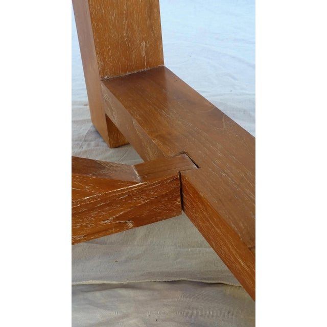 Vintage Pickled Teak Trestle Table For Sale - Image 11 of 11