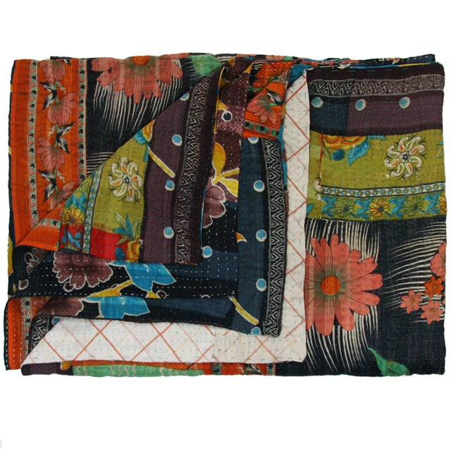 Vintage Orange Floral & Black Kantha Quilt - Image 3 of 3