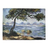 Image of Seaside Oil on Canvas Painting 1980s For Sale