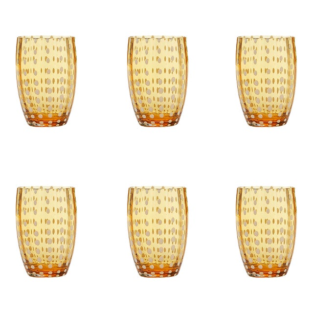 Perle Tumbler in Amber - Set of 6 For Sale