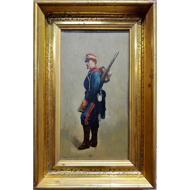 Edouard Jean Baptiste Detaille -Napoleonic Soldier -Oil painting c.1870s portrait of a French Soldier -oil painting on...