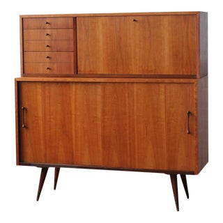1950s Danish Modern Cherry Credenza With Sliding Doors and Bar Hutch For Sale