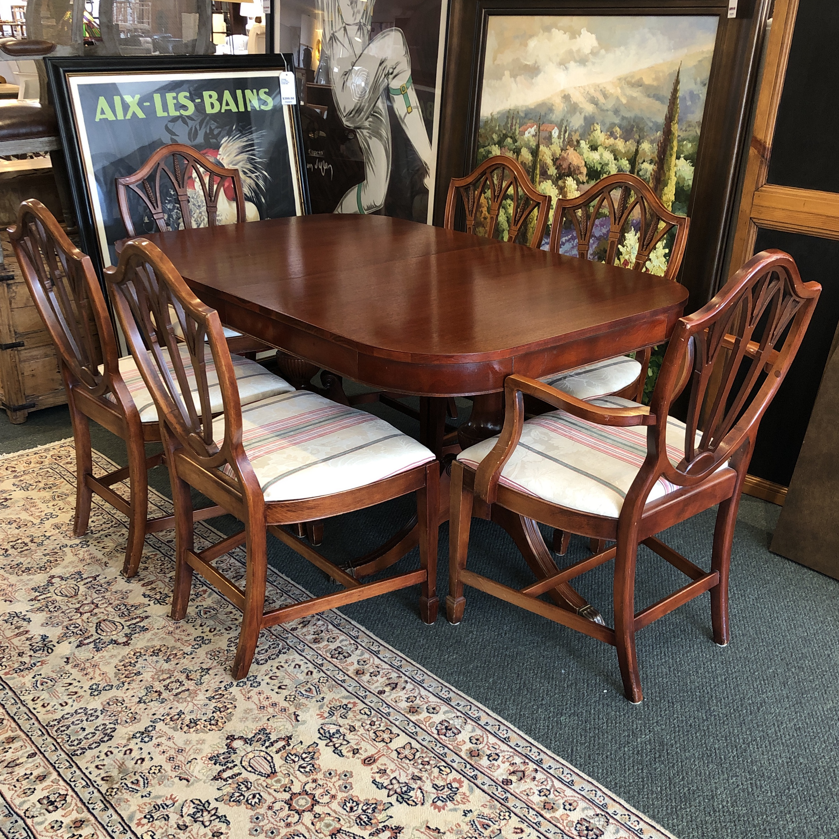 Chairish & Vintage Double Pedestal Dining. Table + Six Shield Back Chairs