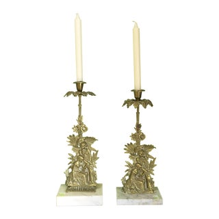 Brass and Marble Candelabra - Pair