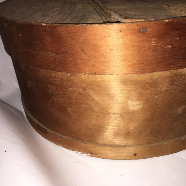 Vintage Round Wood Large Cheese Box For Sale - Image 4 of 11