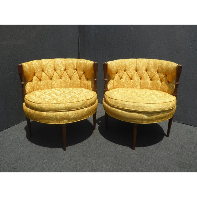 1960s Vintage Stacey House Atomic Era Gold Club Chairs - a Pair Mid Century Modern For Sale - Image 13 of 13