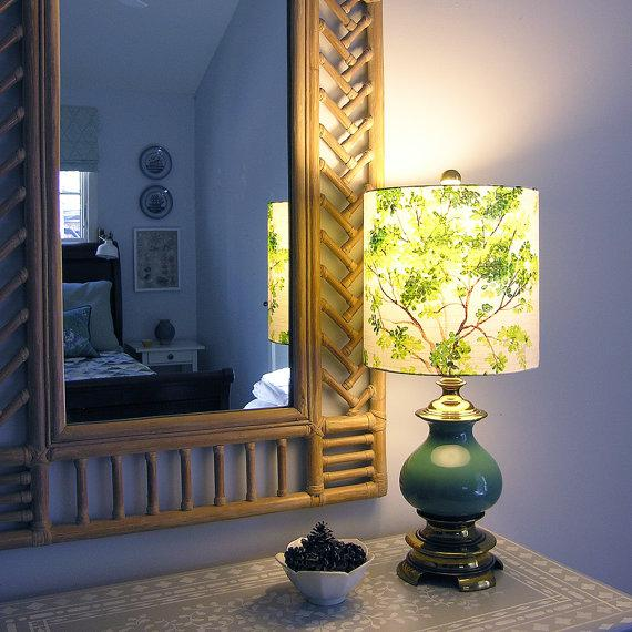 Large Vilber Trees Green Custom Drum Lamp Shade For Sale - Image 4 of 4