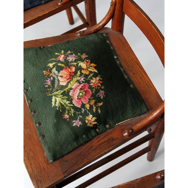 Late 19th Century Victorian Ladder Back Chairs With Needlepoint - Set of 4 For Sale - Image 5 of 8