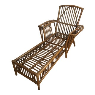 Early 20th C. Stick Wicker & Rattan Chaise Longue