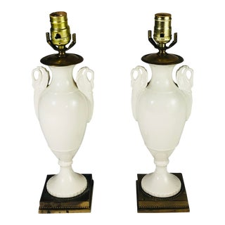 1940s Ceramic Hollywood Regency Table Lamps - a Pair For Sale