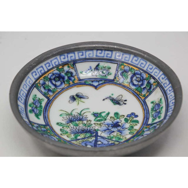 Metal Vintage Blue and White Porcelain Bowl, Catchall Encased in Pewter For Sale - Image 7 of 13