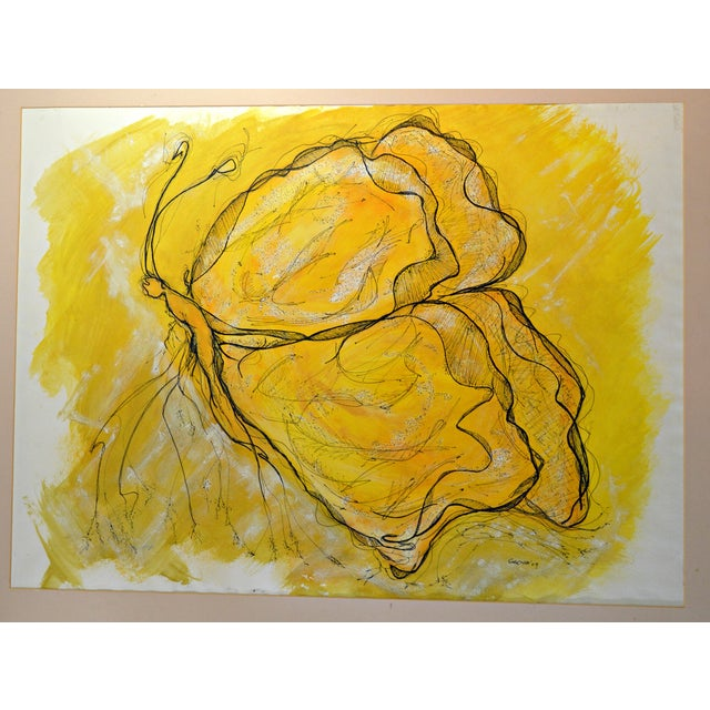 """Contemporary """"Butterfly in Yellow"""" Original Drawing by German For Sale - Image 3 of 4"""
