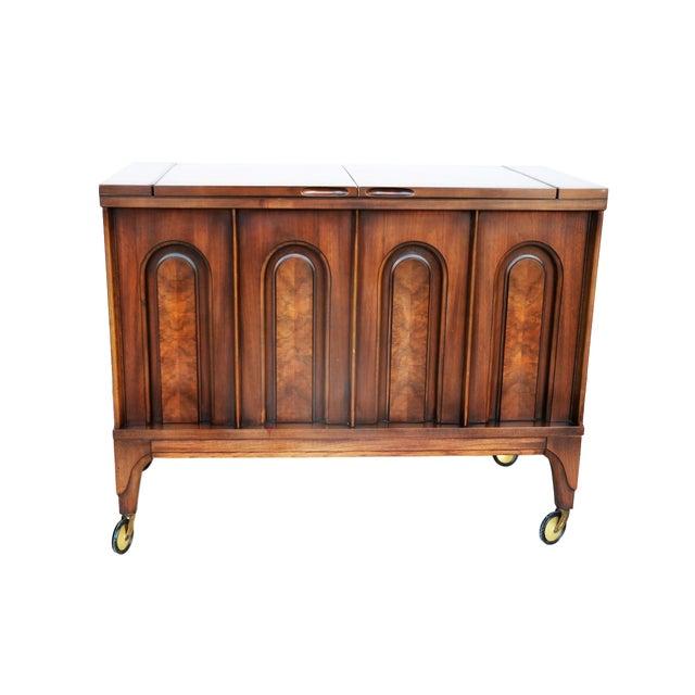 Mid Century modern Walnut Flip Top Bar Cabinet - Image 4 of 7