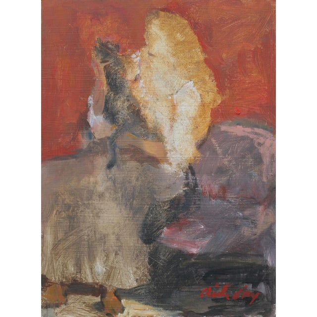 """Wood Fry Oil Painting """"Heavy Petting"""", Contemporary Red Figurative Scene For Sale - Image 7 of 7"""