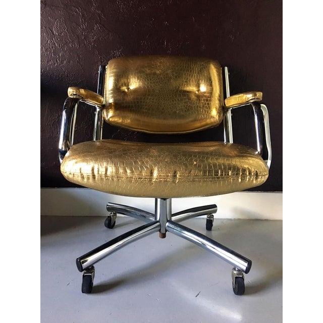 Hollywood Regency Castelli Style Metallic Mock Croc Swiveling Office Chair For Sale - Image 3 of 8
