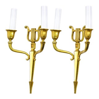 Maison Jansen Harp Shaped Pair of Solid Gold Bronze Sconces. For Sale