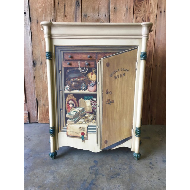 "Hand painted in the ""Trompe L Oeil"" method to fool the eye. Made in Italy by Palladio furniture company circa 1960. This..."