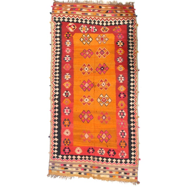 "Pasargad NY Antique Persian Shiraz Kilim Rug - 4'7"" x 9'5"" For Sale - Image 5 of 5"