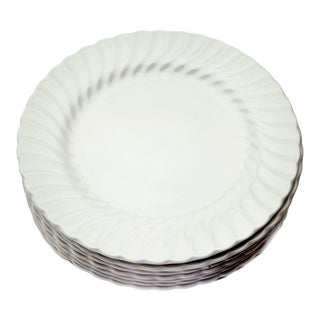 Johnson Brothers English Ironstone Scalloped Rimmed Plates- Set of 8 For Sale