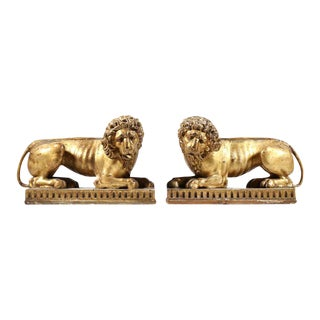 Pair of 19th-century Giltwood Lions