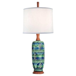 Incised Pottery Lamp W Walnut Accents For Sale