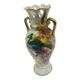 Japanese Porcelain Peacock Vase For Sale