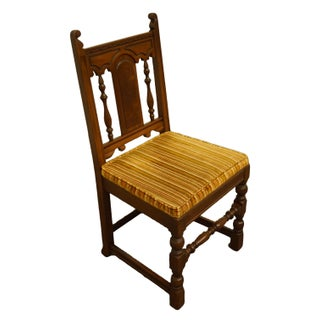 Late 20th Century Vintage Mount Airy English Revival Jacobean Style Walnut Dining Side Chair Preview