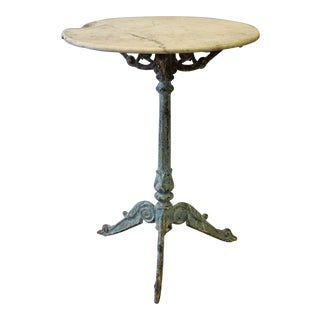 Round Marble Cast Iron French Bistro Table For Sale