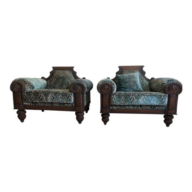 Vintage Mid Century Wooden Solid Teakwood Sofa Set- 2 Pieces For Sale