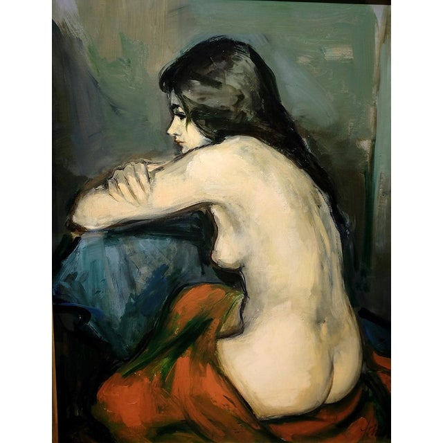 Nude Portrait of Brunette Model, C.1960 by Jan De Ruth. Signed LR: Jan DE RUTH (1922 - 1991). Active in New York / Czech...