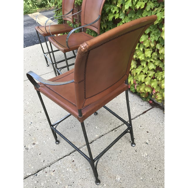 Leather and Metal Bar Stools - Set of 3 - Image 5 of 5
