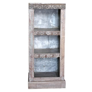Whitewash Carved Front Bookcase For Sale