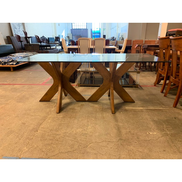 Brown West Elm Double Pedestal Wood X Base + Glass Top Table For Sale - Image 8 of 8