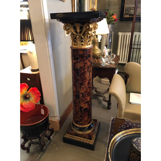 1900 - 1909 1900s Louis XV Gilt Corinthian and Verified Tortoise Shell Pedestals - a Pair For Sale - Image 5 of 11