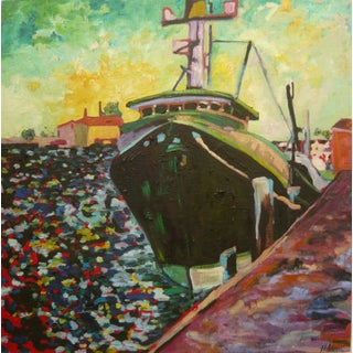 """Contemporary Painting, """"Ship in the Harbor"""" Original Oil Painting For Sale"""